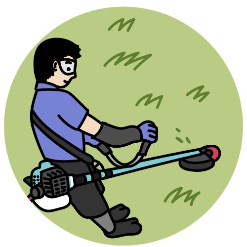 草刈りをしているイラスト