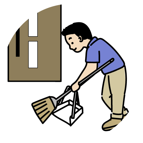 玄関前の掃き掃除のイラスト